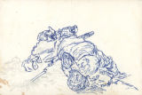 Sketch of a deceased American soldier hunched over a machine gun.