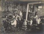 Students in the harness-making division at Tuskegee Institute in Tuskegee, Alabama.
