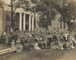 Students in front of Reyholds Hall at the Alabama Girls Industrial School in Montevallo, Alabama.