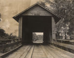 Entrance to Coldwater Covered Bridge, west of Oxford, Alabama.