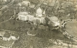 Aerial view of the front and north grounds of the Capitol during the inauguration of Governor...