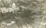 Aerial view of the front and south grounds of the Capitol during the inauguration of Governor...