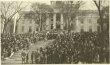 Crowd gathered in front of the Capitol for the inauguration of Governor William Brandon.