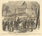 """Scene in front of the Capitol, Montgomery, Ala., on the day the ordinance of secession was..."