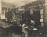 Staff of the Alabama Department of Archives and History in the archives room at the Capitol in...