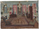 Oil painting of the Morgan living room on Gilmer Avenue in  Montgomery, Alabama.