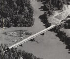 Aerial view of the Miller Covered Bridge in Tallapoosa County, Alabama.