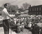 George Wallace giving a speech in a small town during a gubernatorial campaign.