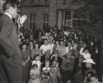 George Wallace making a speech before a crowd in Hamilton, Alabama, during a gubernatorial...