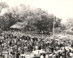 Large crowd gathered for a speech during the gubernatorial campaign of 1958.