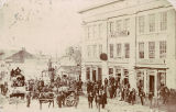 People and wagons outside a clothing store in Huntsville, Alabama.