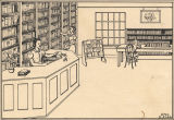Drawing of the interior of the Eutaw-Greene County Public Library in Eutaw, Alabama.