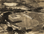 Aerial view of Cramton Bowl in Montgomery, Alabama, during a baseball game.