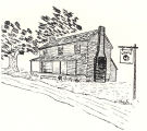 Drawing of Lewis Tavern in Macon County, Alabama.