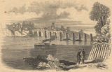 Lithograph of Decatur, Alabama, after the railroad bridge was burned by the 1st Wisconsin Infantry...