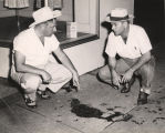 Albert Fuller points to blood on a sidewalk in Phenix City, Alabama, after the murder of Albert...