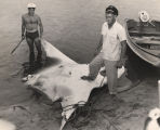 Men standing with a large devil fish they have caught in Alabama's gulf.