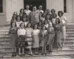 Governor Jim Folsom standing with a Girl Scout troop on the steps of the Capitol in Montgomery,...