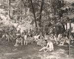 Girl Scouts eating watermelon at Oak Mountain State Park in Pelham, Alabama.