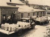 Loading trucks with milk cans in Russellville, Alabama.