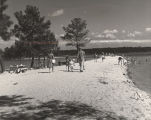People on the shore and in the water at Lake Martin in Tallapoosa County, Alabama.