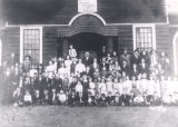 Students and faculty in front of the second school built in Dolomite, Alabama, located on Edwards...