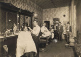 Men in a barbershop in Prattville, Alabama.