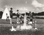 Children shooting rockets during a session of Space Camp at the Space and Rocket Center in...