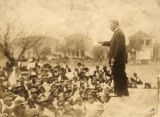 "Booker T. Washington speaking to a crowd of African Americans, giving his ""Atlanta..."