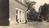 African Americans standing in front of a Methodist church building in Cahaba, Alabama.