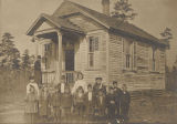Students outside a school building in rural Mobile County, Alabama.