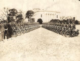 Forty officers of the Alabama Highway Patrol with their motorcycles on the lawn of the Capitol in...