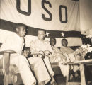 Servicemen talking during a forum hosted by the officers of the 92nd Division at the African...