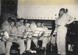 Orchestra of the 1st Regiment performing at the African American USO club in Anniston, Alabama.