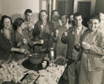 Servicemen having refreshments at a USO club in Anniston, Alabama.