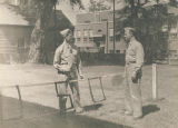 Servicemen playing paddle tennis at the USO club in Mobile, Alabama.