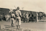 German prisoners of war getting off a train in Aliceville, Alabama.