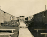 Gardens and pathway between barracks at the German POW camp in Aliceville, Alabama.