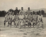 Men on a baseball team at the Air Corps base at Roberts Field in Birmingham, Alabama.