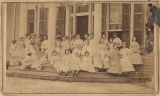 Students on the front porch of Mrs. Chilton's School in Montgomery, Alabama.