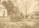 African American man in an ox-drawn cart in Livingston, Alabama.