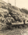 Steam shovel clearing out rock and stone during the construction of the Bankhead Lock and Dam on...