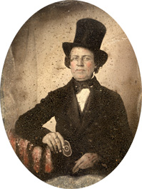 Unidentified man in a top hat with a snuff box.