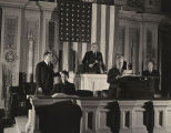 Speaker of the House William B. Bankhead with gavel at the Speaker's stand during a session of the...