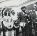 Calvin McGhee, chief of the Poarch Band of Creek Indians, with President John F. Kennedy.