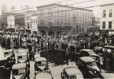 Parade passing through downtown Montgomery, Alabama, before the annual Blue-Gray Football Classic.