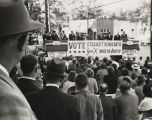 Crowd gathered for speeches promoting John Kennedy during the presidential campaign of 1960.