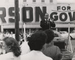 Patterson giving a speech during the gubernatorial campaign of 1958.