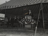 Dr. Wernher von Braun speaking at the groundbreaking for the University of Alabama in Huntsville.