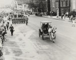 Governor John Patterson riding in a horse-drawn carriage down Dexter Avenue in Montgomery,...